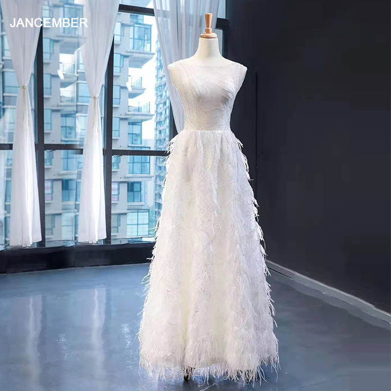 J66921 Jancember Long Wedding Dress Boho 2020 Elegant O Neck A Line Floor Length Lace Marriage With Feathers свадебное платье