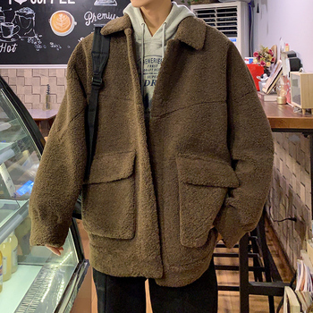2019 Autumn And Winter New Youth Popular Thick Solid Color Lapel Wool Coat Jacket Fashion Casual Loose Cotton Coat M-2XL