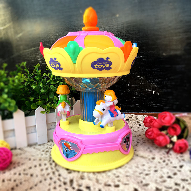 Children Merry-go-round Paradise Large Size Cartoon Sound-And-Light Electric Toys Creative Baby Early Childhood Educational