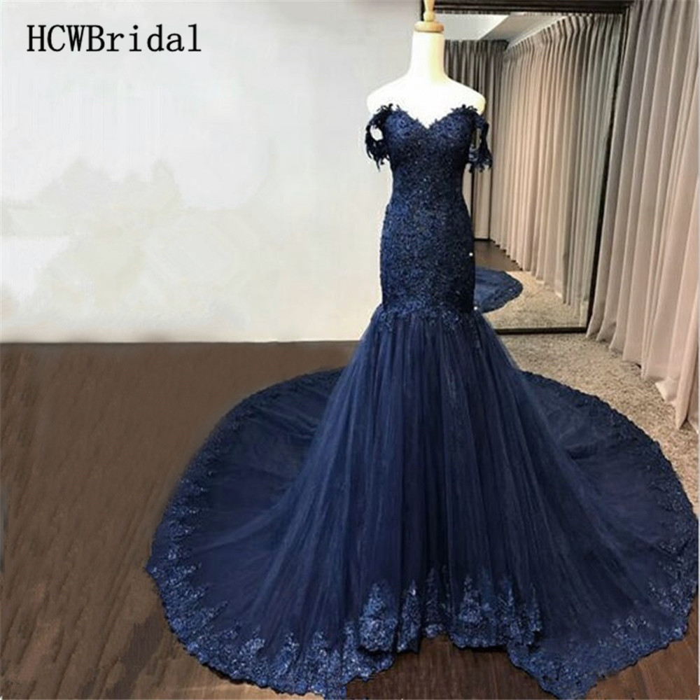 Graceful Navy Blue Long Train Mermaid   Evening     Dress   Real Photos 2019 Off The Shoulder Beaded Appliques Tulle Prom Gowns