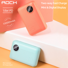 ROCK 10000mAh 18W PD Power Bank for iPhone Samsung Xiaomi Huawei Portable Mini External Battery With PD Two-way Fast Charging