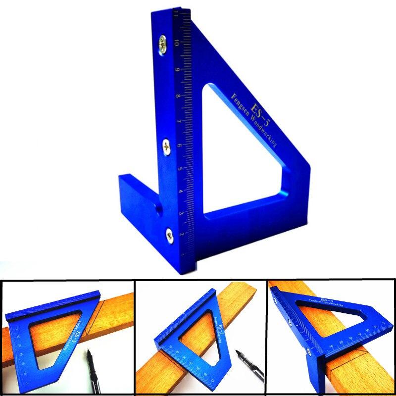 Liga de Alumínio Multifuncional Ângulo Régua Graus Preciso Carpintaria Quadrado Marcação Calibre Ferramentas Carpinteiro 45 90