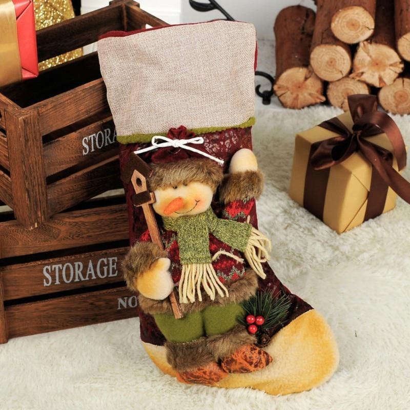 Navidad de dibujos animados de Santa/Elk/muñeco de nieve patrón de medias de caramelo bolsa de regalo para niños Regalos de Navidad Regalos Navidad