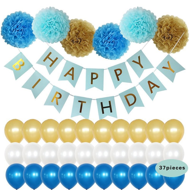 birthday party decorations kids pull flag latex balloons suit the paper flowers decoration anniversaire <font><b>cumplea</b></font>ñ<font><b>os</b></font> 1st birthday image