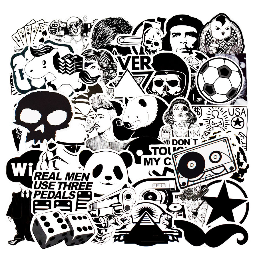 50 pcs Black and White Punk Anime Stickers Home Decor Sticker on Luggage Motor Bike Skateboard Wall Decals Stickers for Kids JDM
