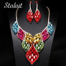 Bohemian Large Hollow Leaf Crystal Pendant Necklace Earrings Jewelry Set Gold Chain Women Wedding Bridal Rhinestone Jewelry(China)