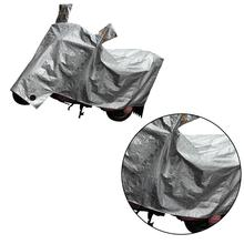 Motorcycle Cover All Weather Water Resistant Motorcycle Protector Indoor/Outdoor Motorcycle Case (Silver, L)