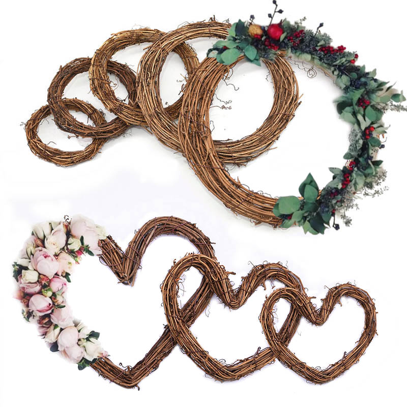 10-30cm Easter Home Decor Natural Rattan Wreath Wedding Wreath Crafts Happy Easter Decoration DIY Craft Spring Wedding Wreaths