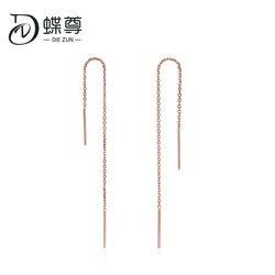 Líneas simples de pendientes de oro de 18 quilates con rosca de oro rosa au750
