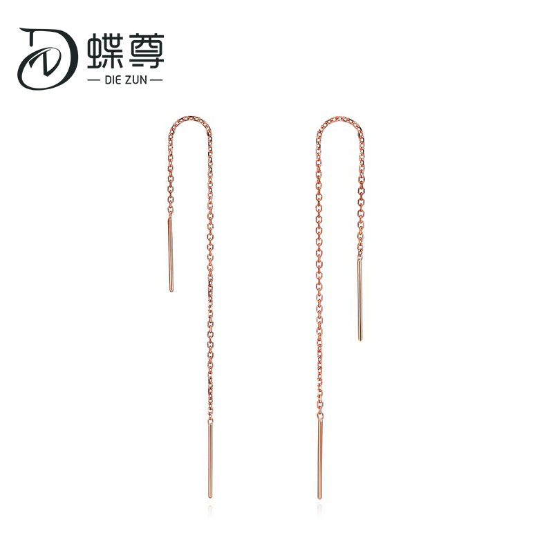 Simple Lines Of 18-karat Gold Earrings With Rose-gold Gold Thread Stud Fashionable Earrings Au750