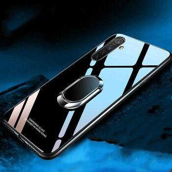 Перейти на Алиэкспресс и купить Для Realme 6S Чехол из закаленного стекла с кольцом-держателем жесткая задняя крышка для OPPO Realme 6 Pro 6i Coques