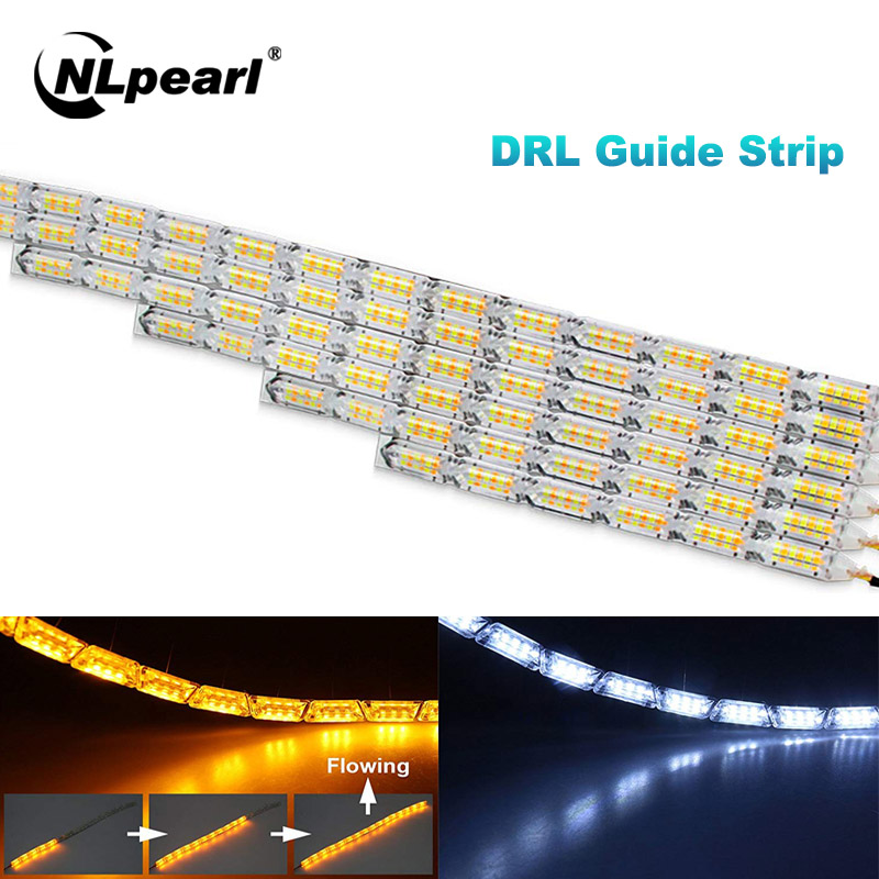 Nlpearl 2pcs Car Light Assembly DRL LED Daytime Running Lights Turn Signal Yellow Guide DRL Led Strip Light Turn Signal Lights