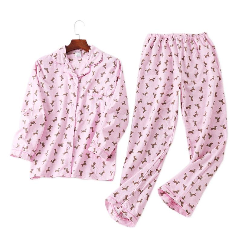 Winter 100% Brushed Cotton Women Pajamas Sets Sweet Dog Pijamas Women Pyjamas Casual Cartoon Ladies Sleepwear Pijamas Mujer