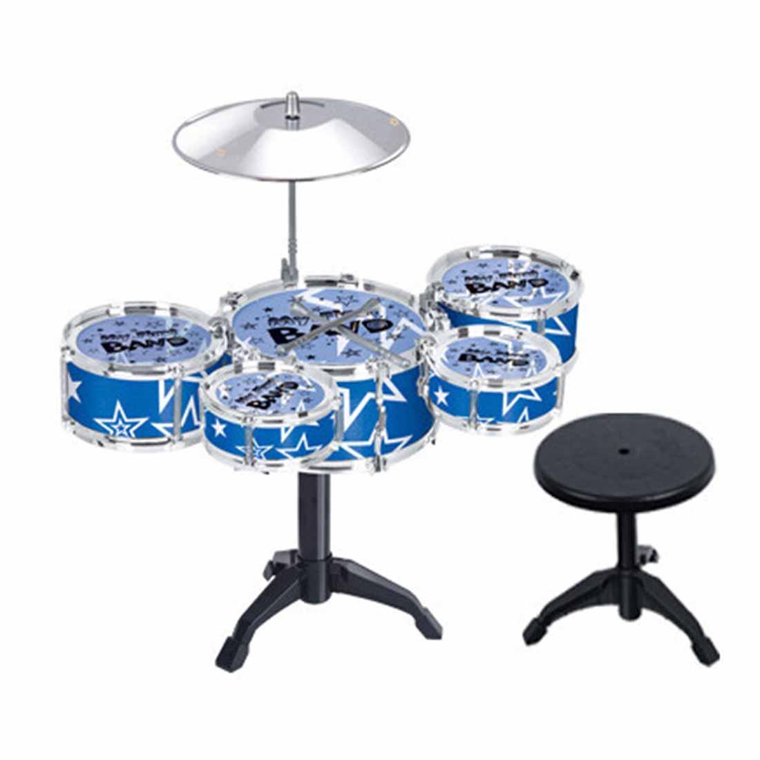 Ensemble de batterie Jazz enfant Instrument de musique jouet Playset avec 5 tambours, cymbale, support, tabouret, pilons-bleu