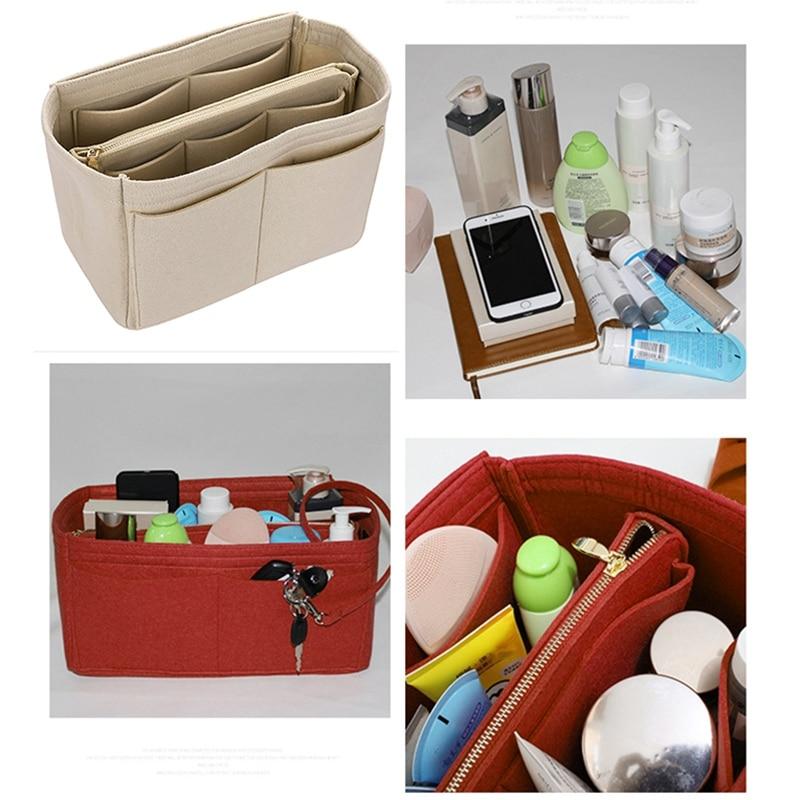 Makeup Bag Cosmetic Cases Felt Bag Organizer Insert Cosmetic Bags Makeup Case Travel Toiletry Bag Handbags Organizer Red S
