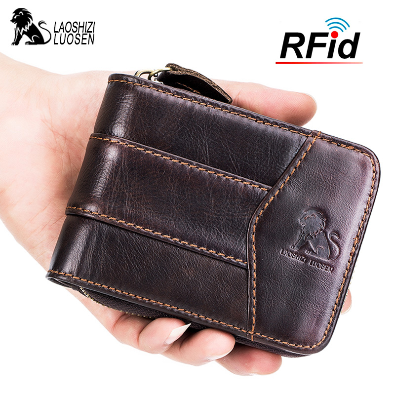 LAOSHIZI Genuine Leather RFID Wallet For Men Roomy Cardholder Wallet Coin Purse Zipper Short Wallet Anti-theft title=