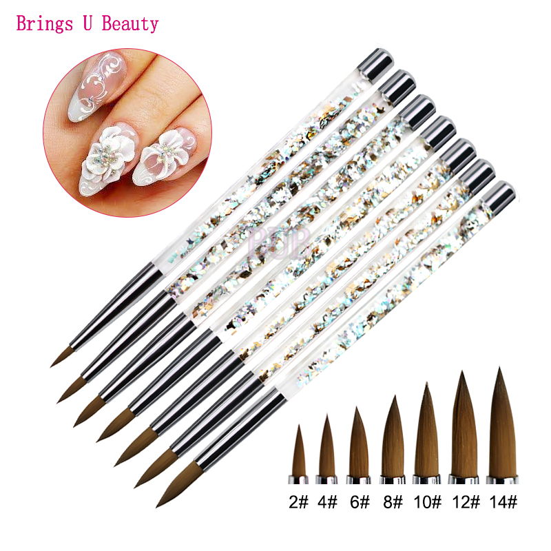 1PC Fiber Hair Acrylic Nail Brush Acrylic Nails Round Nail Art Brush With  Liquid Glitter Handle For Carving Painting Extending