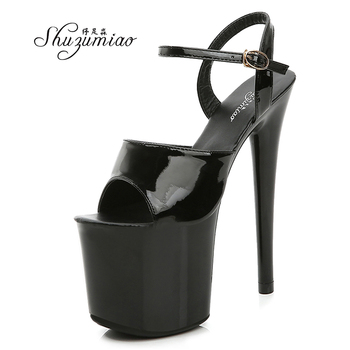 Shuzumiao Branded women's shoes pole dance 15 17 20cm sandals High Heels fashion sexy platform Black shoes Female party shoes image