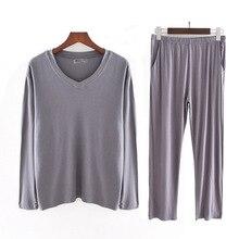 Плюс размер 40-140 кг мужчины пижамы комплекты O шея осень модальный дом одежда комплект мягкий сон одежда длинный рукав топ и длинные брюки