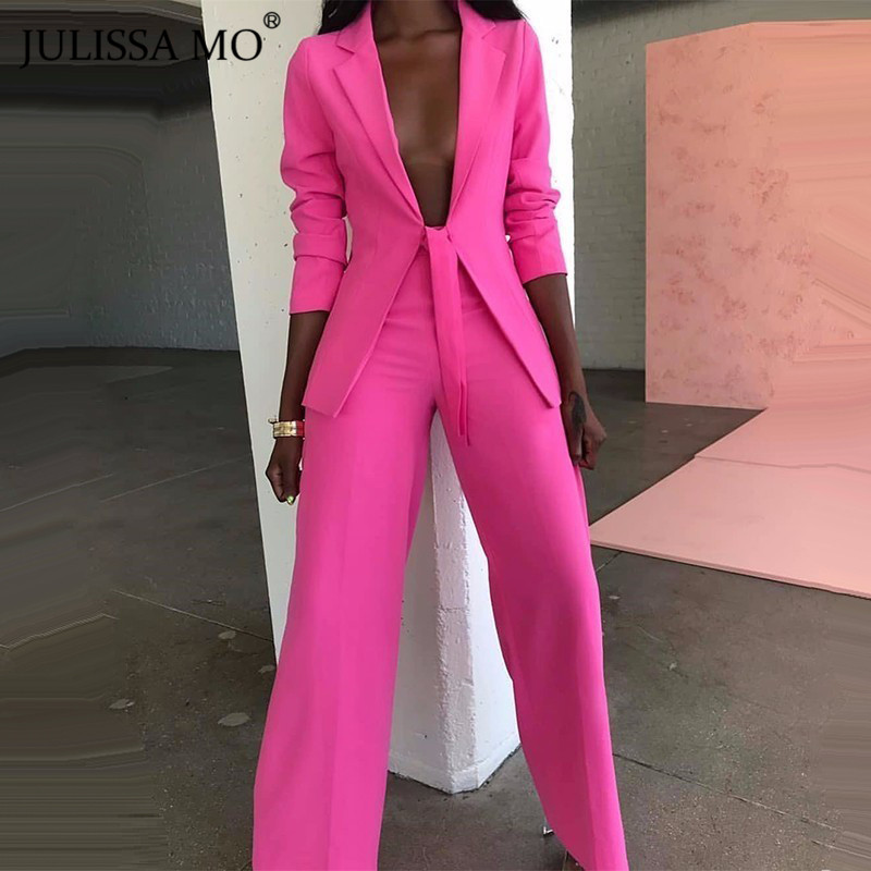 JULISSA MO Pink Office Lady Blazer Suits Women Autumn Winter Two Piece Jacket Long Pants Set Fashion Lace Up Business Outfits