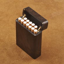 Solid Wood Clamshell Cigarette Case Purple Sandalwood Ebony 12 Sticks Carved Smoking Set Portable St