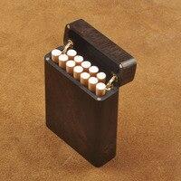 Solid Wood Clamshell Cigarette Case Purple Sandalwood Ebony 12 Sticks Carved Smoking Set Portable Storage Sealed Men Gifts