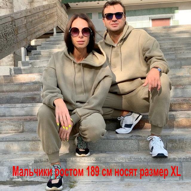 Tangada Women couple sweatshirt fleece 100% cotton amygreen oversized hood hoodies sweatshirts plus size SD60 2