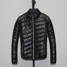 Free shipping,Wholesales Winter warm Sheepskin coat,women white duck down leather jacket,black casual slim leather clotes