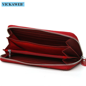 Image 5 - VICKAWEB Shiny Genuine Leather Women Wallets Zipper Card Holder Solid Purses Female Long Wristlet Wallet Ladies Coin Purse AL38