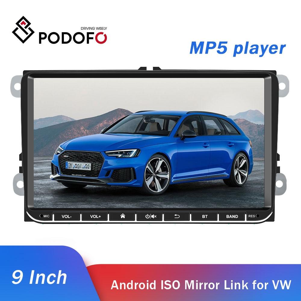 Podofo Car Multimedia 9'' Car Radio Audio MP5 Player Bluetooth TFT Capacitance Touch Screen FM Radio Android IOS Mirror Link