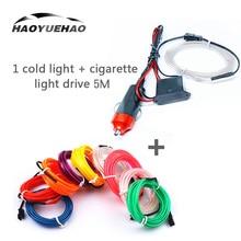 цена на Haoyuehao 10 Color LED Car Light 1 Cold Light + Cigarette Light Drive 5M DC 12V Car Accessories Car Atmosphere Lamp Cold Light