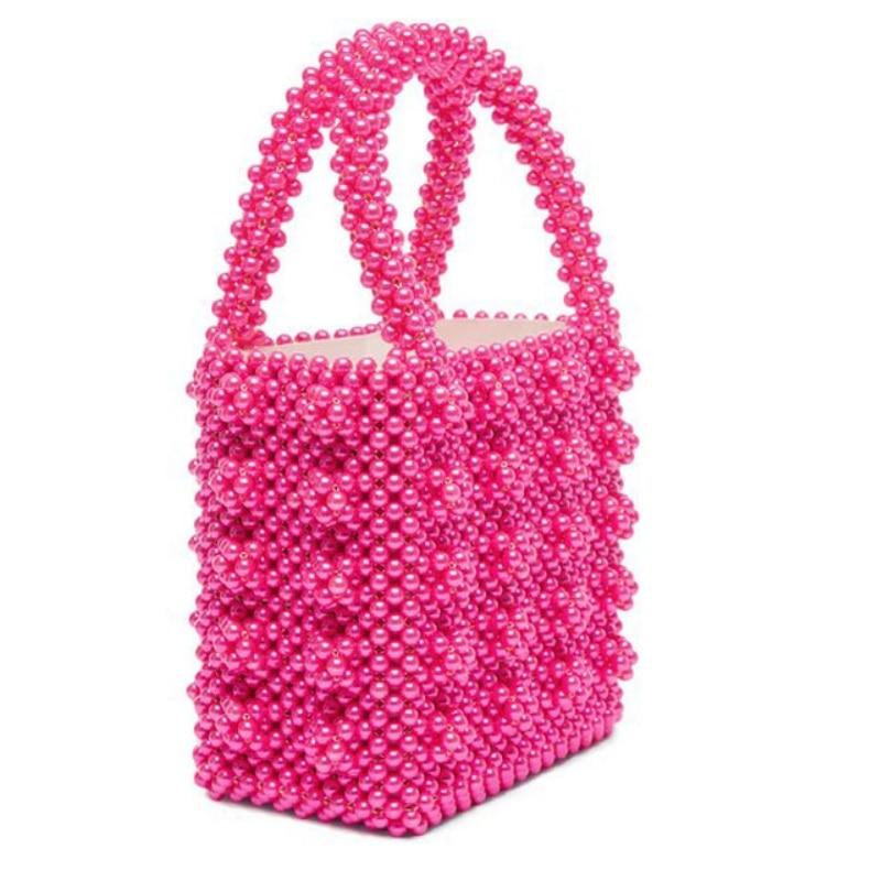 Femmes mode perles sac perlé boîte seau totes sac femmes parti élégant sac à main noir blanc rose rose en gros