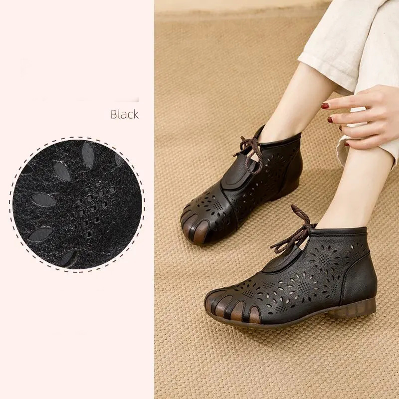 2021 New Style Girls Black Genuine Leather Shoes Comfortable Oxford Womens Flats Non-Slip Anti-Odor Womans Flats