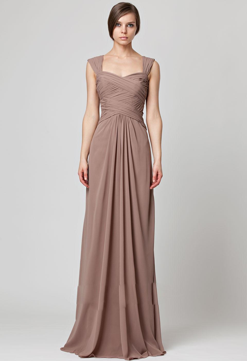 Chiffon Cap Sleeves Sheath Ruched Empire Waist Long Bridesmaids Dress 450036