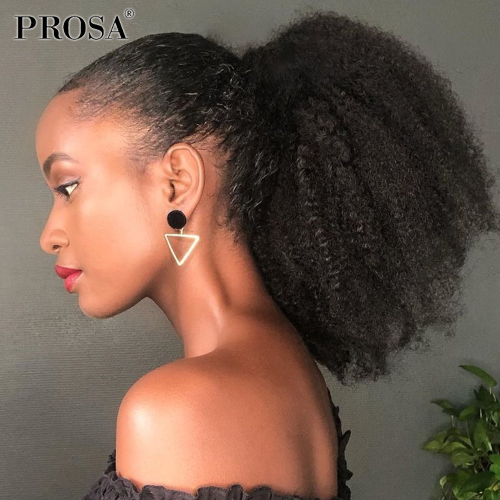 Afro Kinky Curly Ponytail Human Hair Curly Drawstring Lifelike Women Hairpiece Ponytail Curl Hairpieces Tail of Natural 100%
