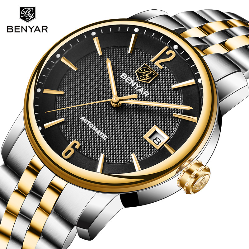 BENYAR Brand Luxury Men Watches Automatic Watch Men Stainless Steel Waterproof Business Sport Mechanical Male Wristwatch For Man