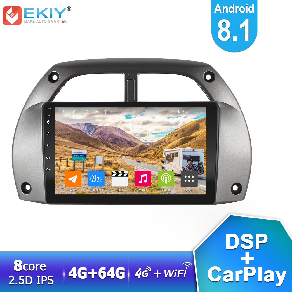 EKIY DSP IPS Android 8.1 <font><b>Car</b></font> <font><b>Multimedia</b></font> Player 4G+64G <font><b>For</b></font> <font><b>Toyota</b></font> <font><b>RAV4</b></font> 2001 2002 <font><b>2003</b></font> 2004 2005 Auto Radio Stereo GPS Navigation image