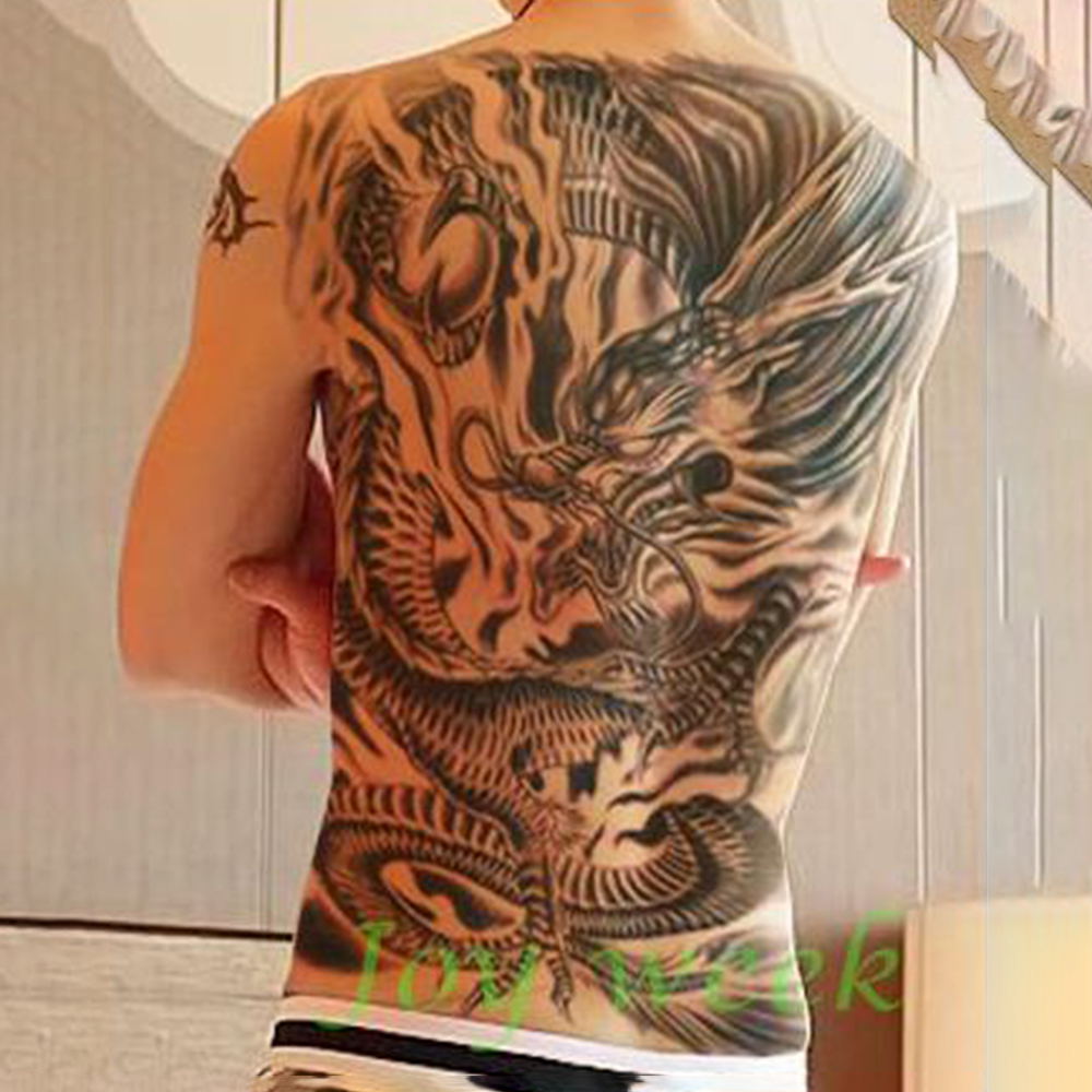 Waterproof Temporary Tattoo Sticker Men's Whole Back Large Size Dragon Wolf Tatto Stickers Flash Tatoo Fake Tattoos For Women 9