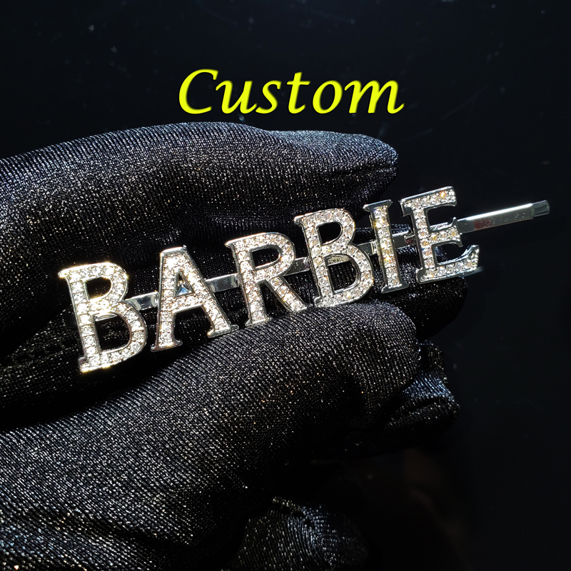 Custom Name Hair Clip Customized Barrette High Quality Personalized Zirconia Hair Pins For Women