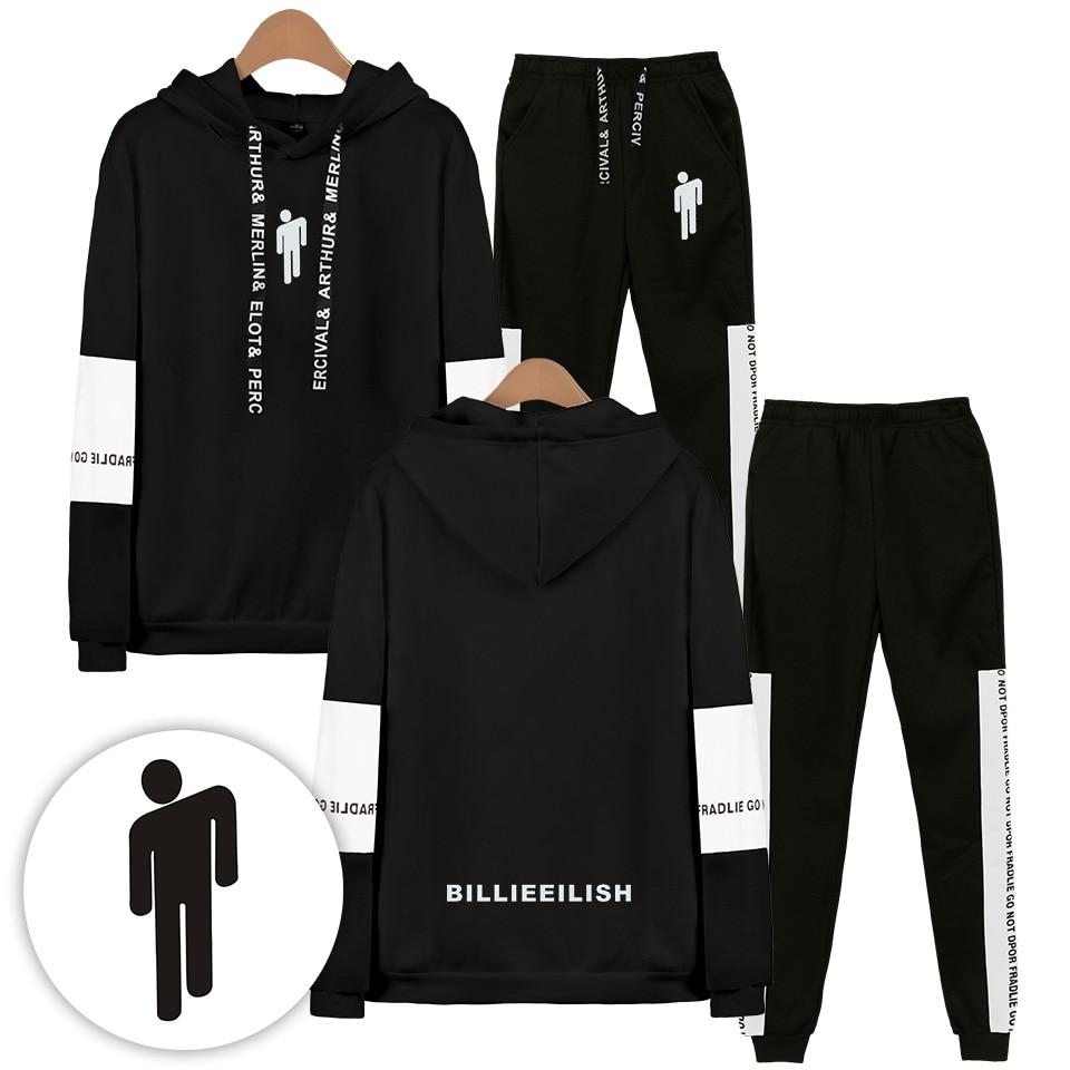2019 Autumn/Winter Billie Eilish Hip Hop Hoodies Sweatshirts And Sweatpants Men Billie Eilish Two Piece Set Hooded Suit Velvet