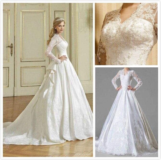 Vestidos Luxury Wedding Dresses With Long Sleeves 2016 Vintage A Line V Neck Bridal Gowns De Novia Custom Made
