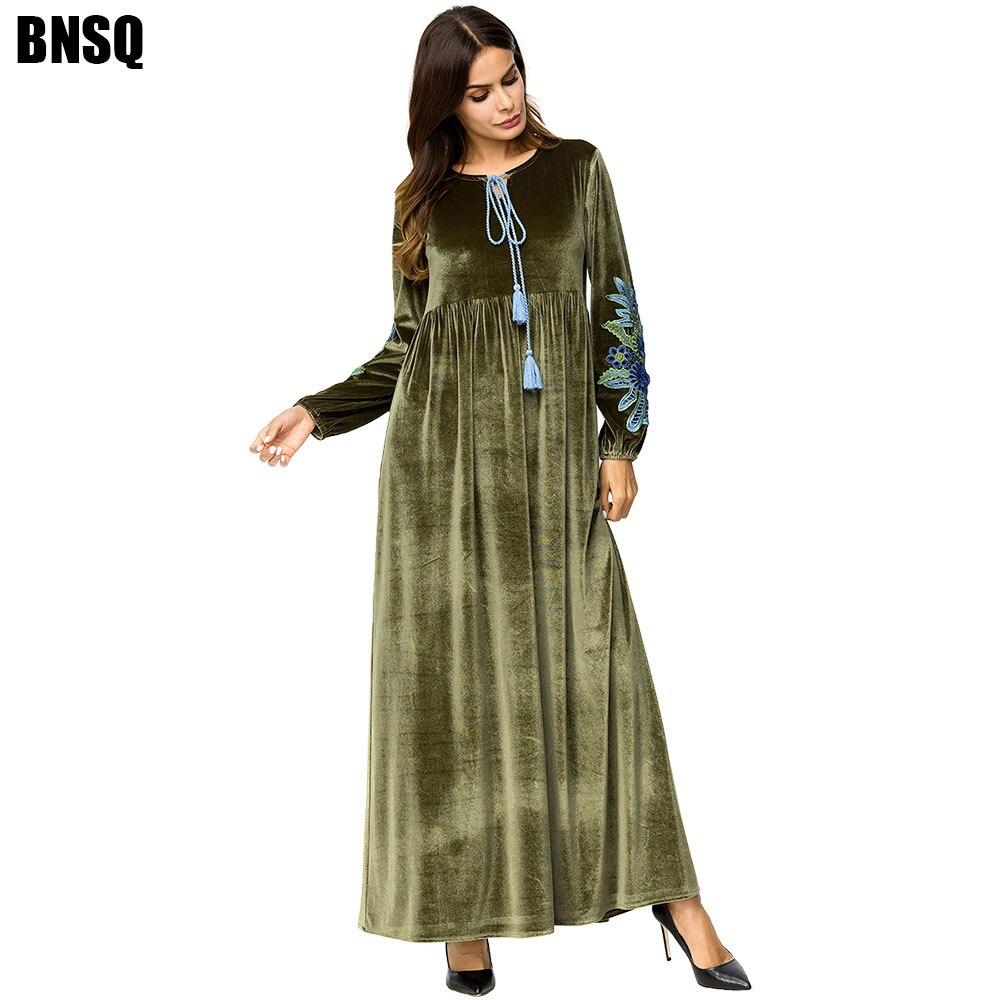 BNSQ Velvet Maxi Dress Islamic Abayas Muslim Caftan Kaftan Morocccan Indonesia Pakistani Dubai Hjiba Dress Winter Black Clothes