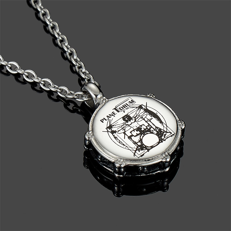 Stainless Steel Necklace Music Rockers Drum and Drum Sticks Pendant