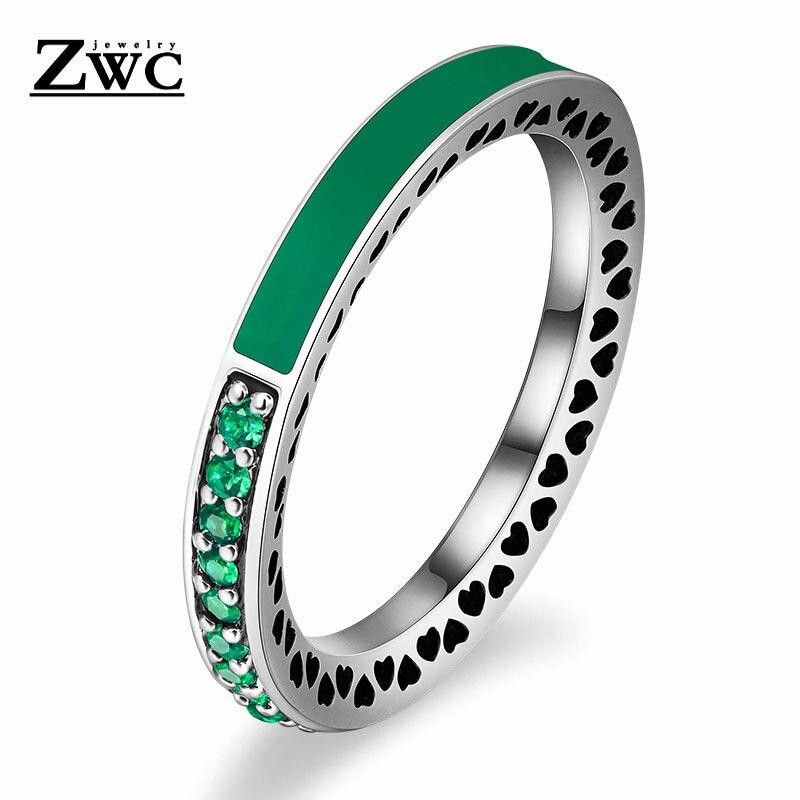 ZWC модный Сияющий светильник в виде сердец с розовой эмалью и прозрачным CZ кольцом на палец для женщин, кольца с кристаллами из медного сплава, ювелирные изделия в подарок - Цвет основного камня: Green