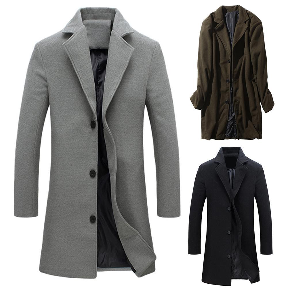 Men Winter Coat Lapel Collar Wool & Blends Single-breasted Pockets Plus Size Trench Coat Manteau Black Grey Homme пальто мужское