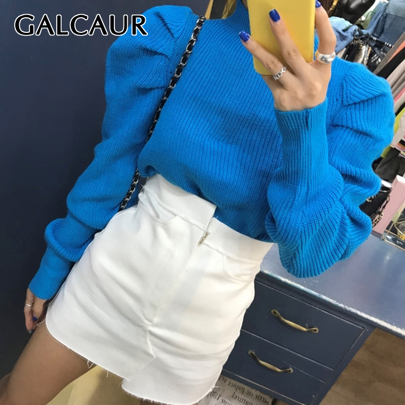 GALCAUR Korean Ruched Knitted Women's Sweaters O Neck Puff Long Sleeve Oversize Pullover Sweater Female 2019 Autumn Fashion New