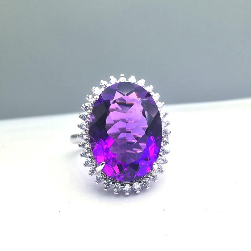 CSJ grande pierre améthyste quartz pierres précieuses bague élégante en argent Sterling 925 bijoux fins pour femmes dame ou mère boîte-cadeau