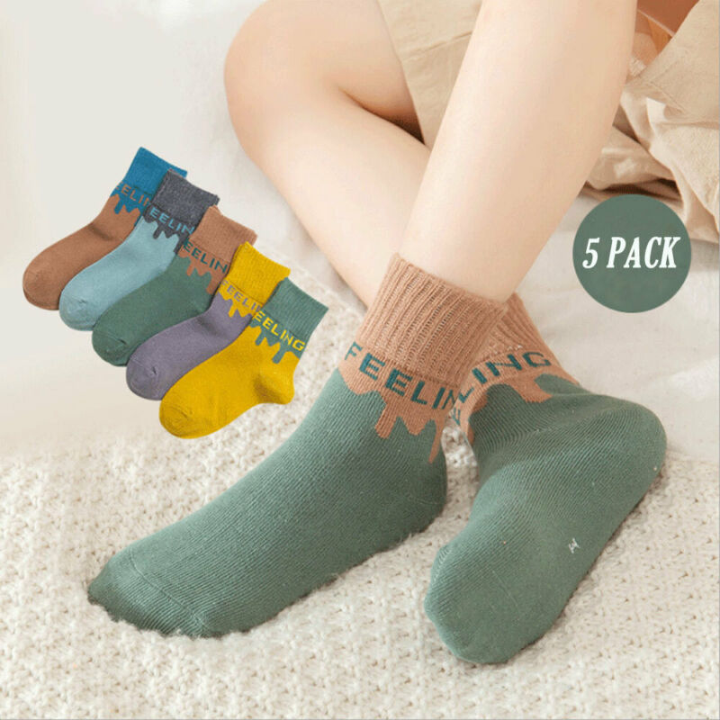 Emmababy 5 Pair Lovely Text Safe Comfort Newborn Sock Kids Boy Knit Cotton Soft Baby Socks Girl Miaoyoutong 1-12T