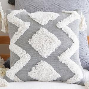 Image 5 - 45*45 Chair Cushion Nordic Modern Home Decor Minimalist Pillow Tufted Tassel Morocco Gray Seat Cushion Pillowcase