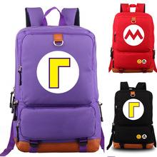 Waluigi Mario plecak uczeń torba szkolna plecak na notebook wypoczynek codzienny plecak tanie tanio FGHGF Płótno zipper Braun Strowman Cartoon Unisex 11 4inch 0 65kg Torby szkolne canvas